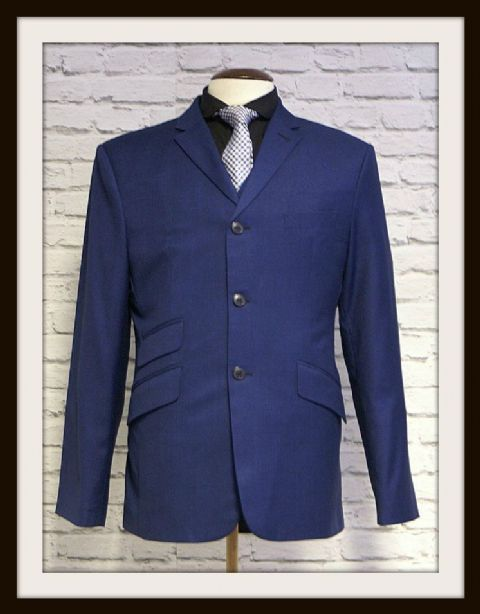 """Earl"" Blue & Black Two Tone 3 Button Suit"